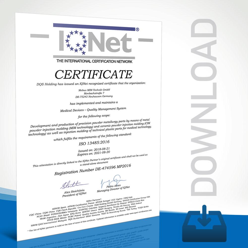 Mebus MIM-Technik Certifikate DIN EN ISO 9001