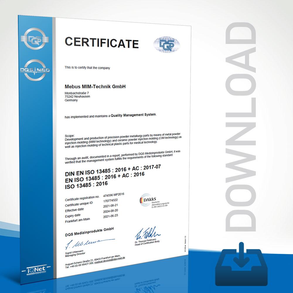 Mebus MIM-Technik Zertifikat DIN EN ISO 13485