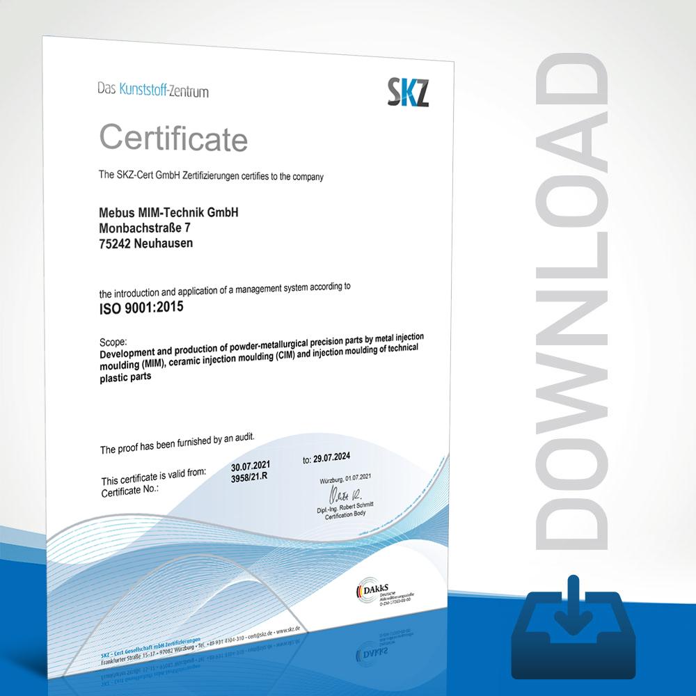 Mebus MIM-Technik Certifikate DIN EN ISO 13485